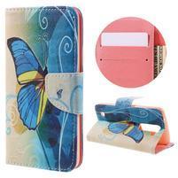 Emotive PU kožené puzdro pre LG K8 - modrý motýľ