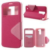 Diary PU kožené puzdro s okienkom na LG K8 - rose