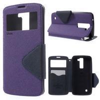 Diary PU kožené puzdro s okienkom na LG K8 - fialové