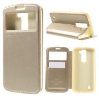 Richi PU kožené pouzdro na mobil LG K8 - zlaté