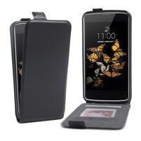 Čierne flipové PU kožené puzdro pre LG K8