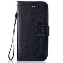 Dandelion PU kožené pouzdro na mobil LG K8 - černé