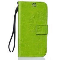 Dandelion PU kožené puzdro pre mobil LG K8 - zelené
