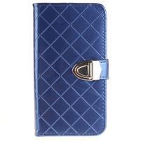 Luxusní PU kožené puzdro s přezkou na LG K8 - modré