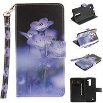Style PU kožené puzdro pre LG K8 - fialové kvetiny