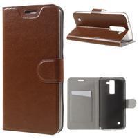 Horse PU kožené puzdro pre mobil LG K8 - hnedé