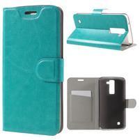Horse PU kožené puzdro pre mobil LG K8 - zelenomodré