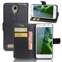 Wallet PU kožené klopové puzdro na Acer Liquid Z6 - čierne