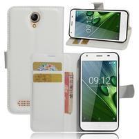 Wallet PU kožené klopové puzdro na Acer Liquid Z6 - biele