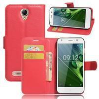 Wallet PU kožené klopové puzdro na Acer Liquid Z6 - červené