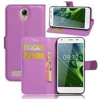 Wallet PU kožené klopové puzdro na Acer Liquid Z6 - fialové