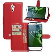 Peňaženkové puzdro pre Acer Liquid Zest Plus - červené
