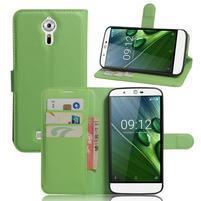 Peňaženkové puzdro pre Acer Liquid Zest Plus - zelené