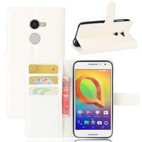 Graines PU kožné puzdro pre mobil Alcatel A3 - biele