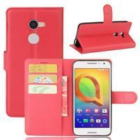 Graines PU kožné puzdro pre mobil Alcatel A3 - červené