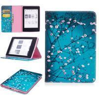 Color PU kožené puzdro na Amazon Kindle Paperwhite 1, 2 a 3 - kvitnúci strom