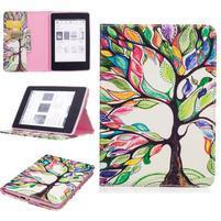 Color PU kožené puzdro na Amazon Kindle Paperwhite 1, 2 a 3 - farebný strom