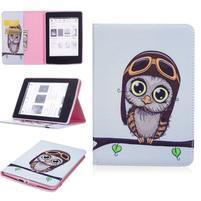 Color PU kožené puzdro na Amazon Kindle Paperwhite 1, 2 a 3 - sovička