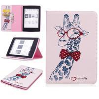 Color PU kožené puzdro na Amazon Kindle Paperwhite 1, 2 a 3 - žirafa s motýlikom