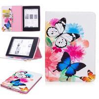 Color PU kožené puzdro na Amazon Kindle Paperwhite 1, 2 a 3 - motýliky