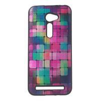 Gélový obal s imitáciou vrúbkované kože na Asus Zenfone 2 ZE500CL - mozaika farieb