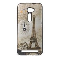 Gélový obal s imitáciou vrúbkované kože na Asus Zenfone 2 ZE500CL - Eiffelova veža