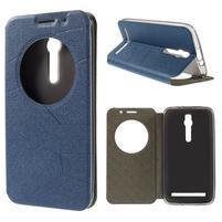 Modré klopové puzdro s okienkom na Asus Zenfone 2 ZE551ML