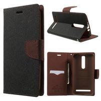 Zapínacie PU kožené puzdro na Asus Zenfone 2 ZE551ML - čierne/hnedé
