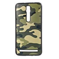 Gélový kryt s imitáciou vrúbkované kože pre Asus Zenfone 2 ZE551ML - vojenský