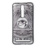 Gélový kryt s imitáciou vrúbkované kože pre Asus Zenfone 2 ZE551ML - egyptské oko