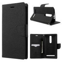 Zapínacie PU kožené puzdro na Asus Zenfone 2 ZE551ML - čierne