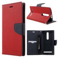 Zapínacie PU kožené puzdro pre Asus Zenfone 2 ZE551ML - červené