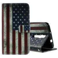 Zapínacie peňaženkové puzdro na Asus Zenfone 2 ZE551ML -  vlajka US