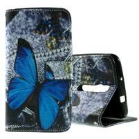 Zapínacie peňaženkové puzdro na Asus Zenfone 2 ZE551ML - modrý motýľ