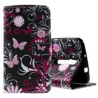 Zapínacie peňaženkové puzdro pre Asus Zenfone 2 ZE551ML - motýľik