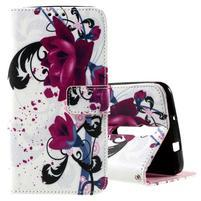 Zapínacie peňaženkové puzdro na Asus Zenfone 2 ZE551ML - kvetiny