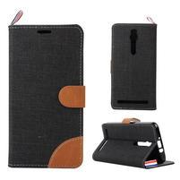 Čierne peňaženkové látkove / PU kožené puzdro pre Asus Zenfone 2 ZE551ML