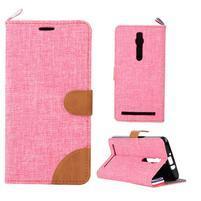 Ružové peňaženkové látkove / PU kožené puzdro pre Asus Zenfone 2 ZE551ML