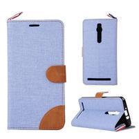 Svetlomodré peňaženkové látkove / PU kožené puzdro pre Asus Zenfone 2 ZE551ML