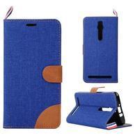 Modré peňaženkové látkove / PU kožené puzdro pre Asus Zenfone 2 ZE551ML