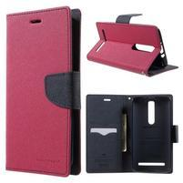Zapínacie PU kožené puzdro na Asus Zenfone 2 ZE551ML - rose