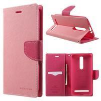 Zapínacie PU kožené puzdro na Asus Zenfone 2 ZE551ML - ružové