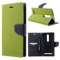 Zapínacie PU kožené puzdro na Asus Zenfone 2 ZE551ML - zelené