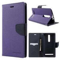 Zapínacie PU kožené puzdro pre Asus Zenfone 2 ZE551ML -  fialové