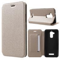 Sand PU kožené klopové puzdro na Asus Zenfone 3 Max ZC520TL - zlaté