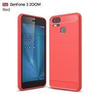 Carbon odolný gélový obal na Asus Zenfone 3 Zoom ZE553KL - červený