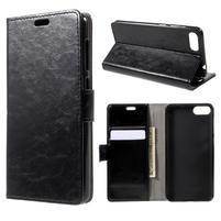 Crazy PU kožené puzdro na Asus Zenfone 4 Max ZC520KL - čierne