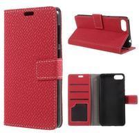 Texture PU kožené zapínacie puzdro na Asus Zenfone 4 Max ZC520KL - červené