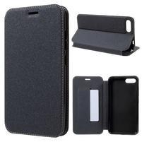 Sand klopové PU kožené puzdro na Asus Zenfone 4 Max ZC554KL - čierne