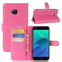 Litch PU kožené zapínacie puzdro na Asus Zenfone 4 Selfie Pro ZD552KL - rose